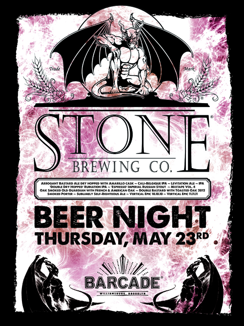 Stone Brewing Night  May 23, 2013 at Barcade in Brooklyn, NY