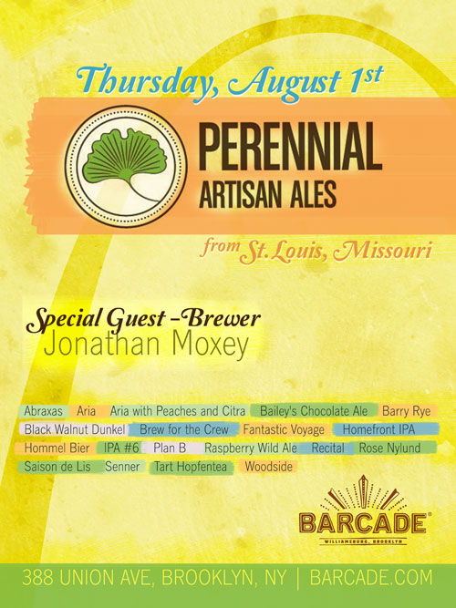 Perennial Artisan Ales Night — August 1, 2013 at Barcade® in Brooklyn, NY