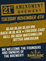 21st Amendment Brewery Night — November 4th, 2014 at Barcade® in Brooklyn, NY