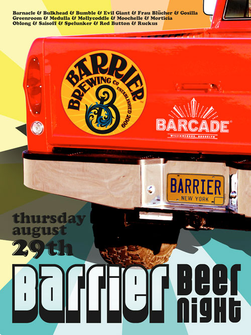 Barrier Brewing Night — August 29, 2013 at Barcade® in Brooklyn, NY