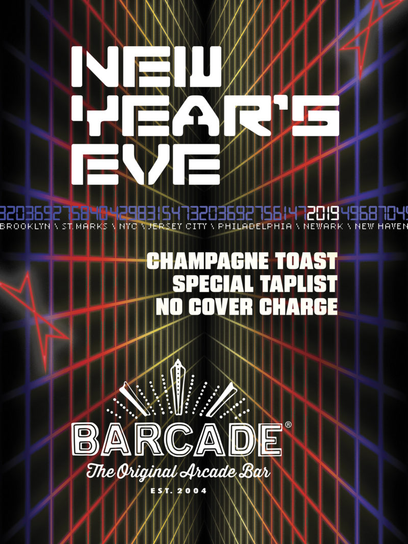New Year's Eve Party—Monday, December 31st 2018 at Barcade® in Brooklyn, New York