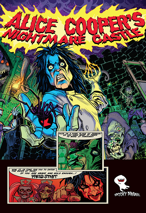 Alice Cooper's Nightmare Castle (pinball) — 2019 at Barcade® in Williamsburg, Brooklyn, NY | arcade game flyer graphic